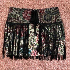 Lulumari Tie-Dye Fringe Mini Skirt